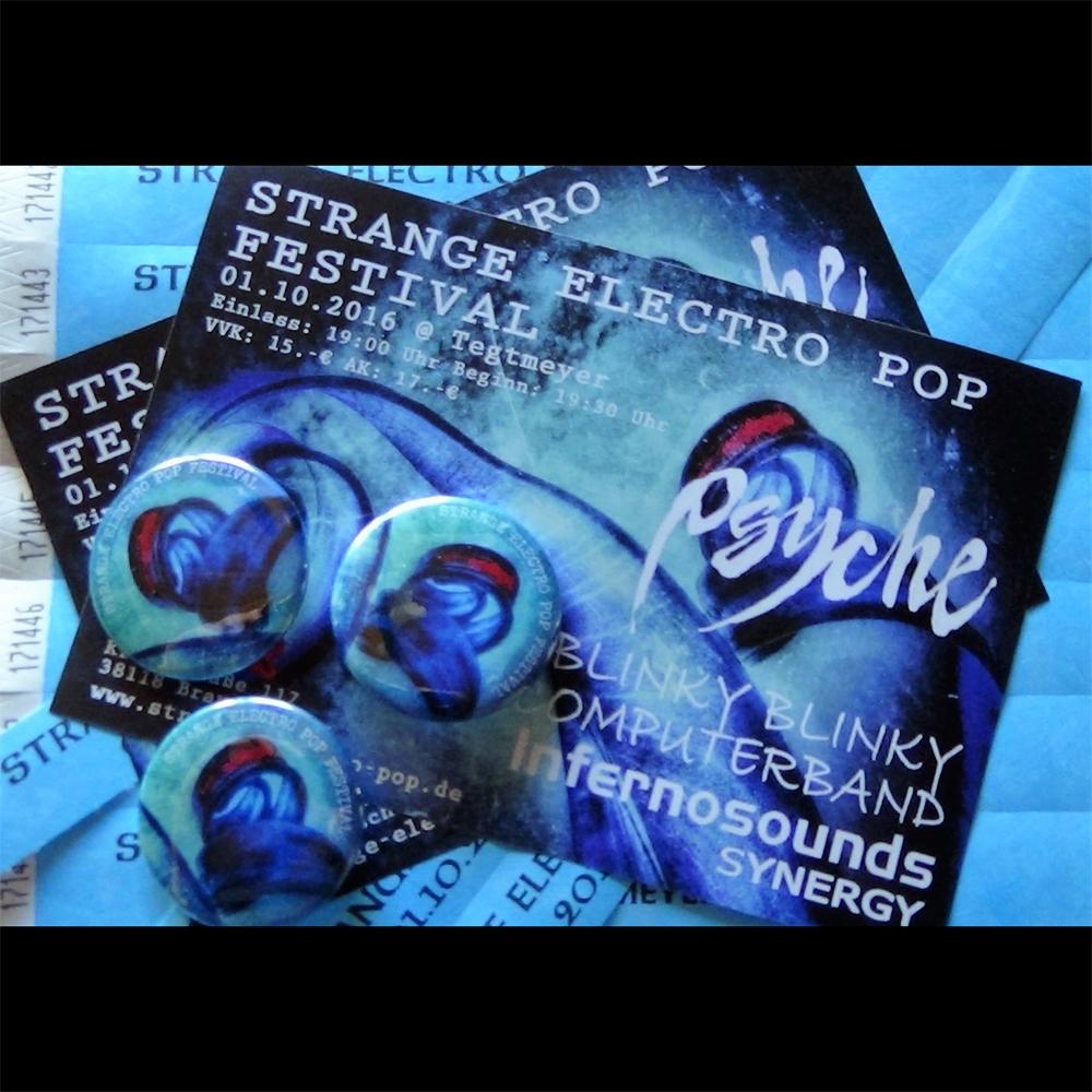 """Strange Electro Pop Festival"" Flyer & Button / 2016"